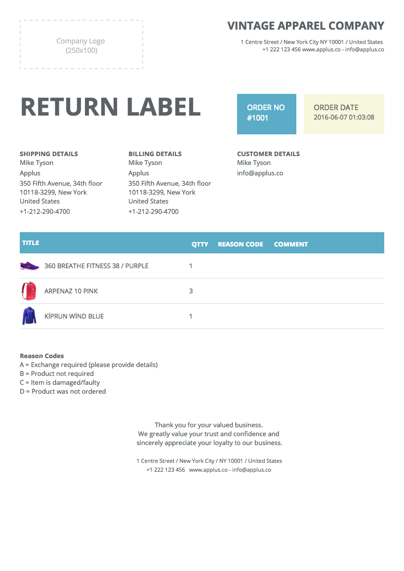 Softify Premium Shopify Apps Easy Invoice – Return Label Template