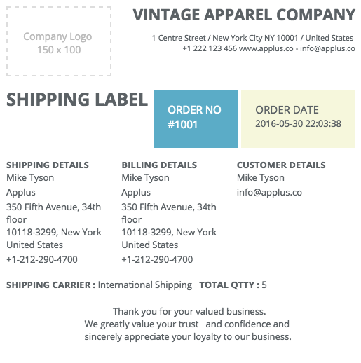 SHIPPING LABEL. View Details