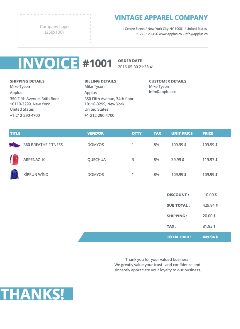 Softify Premium Shopify Apps Easy Invoice - Easy invoice template